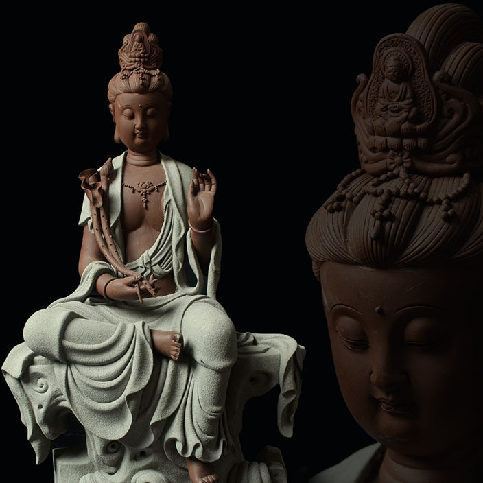 Rough pottery Buddha sitting lotus rock guanyin Buddha ceramic furnishing living room office handicrafts