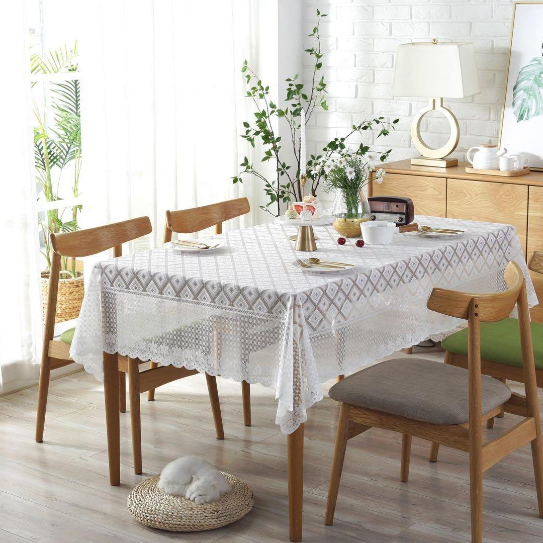 冰丝加厚沙发巾 蕾丝靠背巾沙发垫套纯色扶手巾白色茶几桌子盖巾 四季