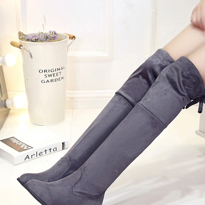 New winter 2019 frosted thigh-high boots with rounded toes and strappy elastic heels