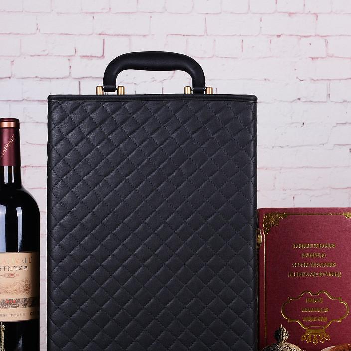 菱形双支装红酒盒定制logo 高档红酒礼盒红酒皮盒定制批发红酒盒