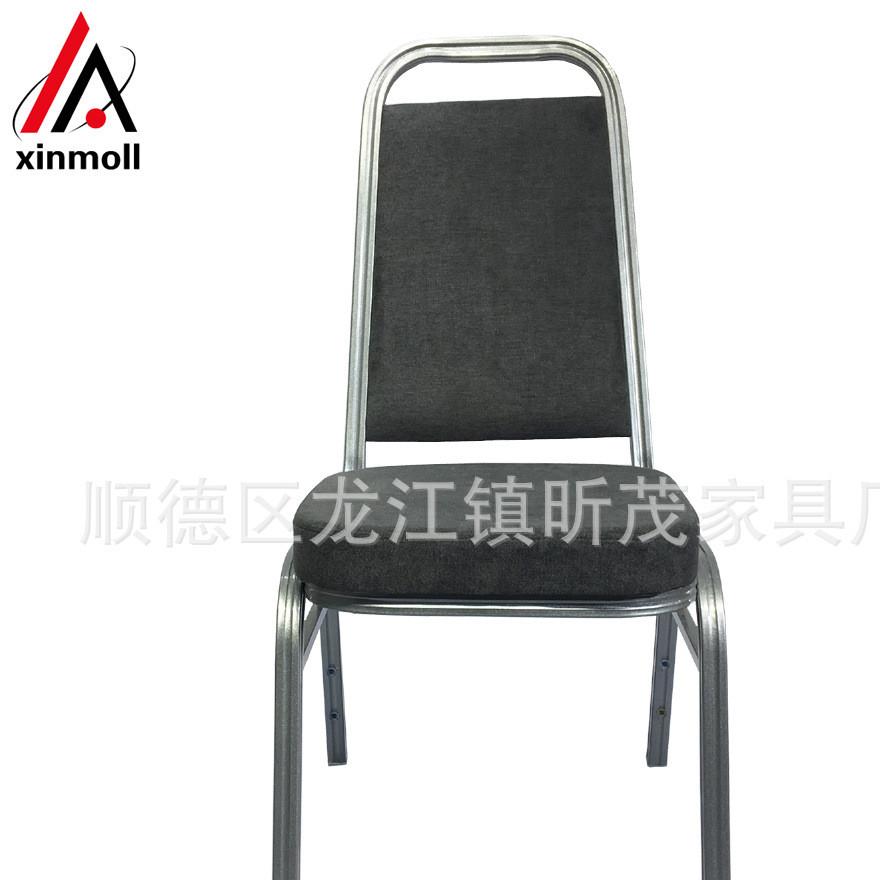 高档酒店宴会铝椅 定型海绵麻布宴会餐椅金属叠堆餐厅宴会椅钢管