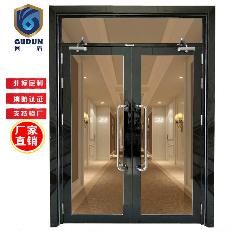 Black titanium brushed glass fire door factory, grade b solid shield black titanium brushed glass fire door production factory fast