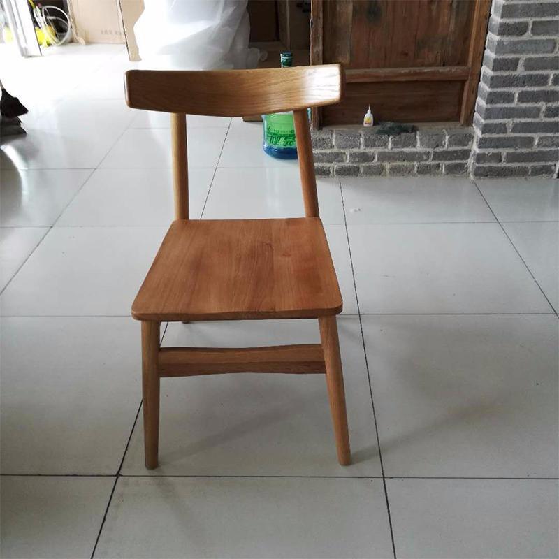 实木坐板韩椅牛角椅北欧现代餐椅白橡休闲椅简约会议椅白茬成品
