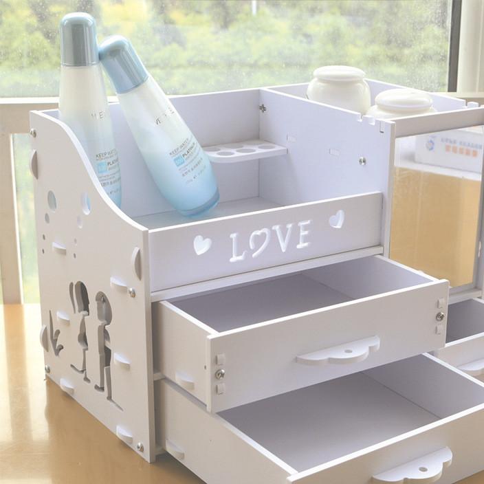 家居卫生间梳妆台客厅卧室防水防火颜色鲜艳环保木塑化妆品收纳盒