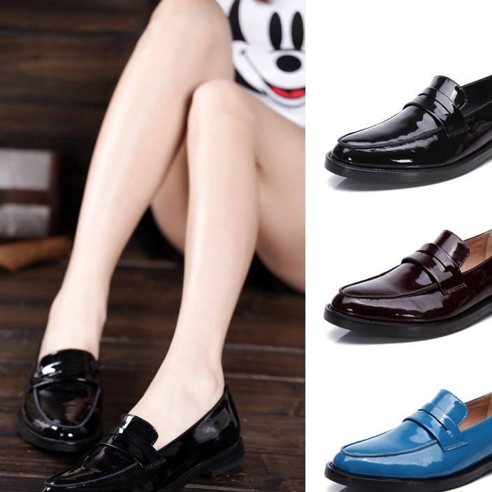 大红鸟新款真皮漆皮单鞋女鞋欧美英伦中性鞋头层牛皮鞋复古平跟鞋