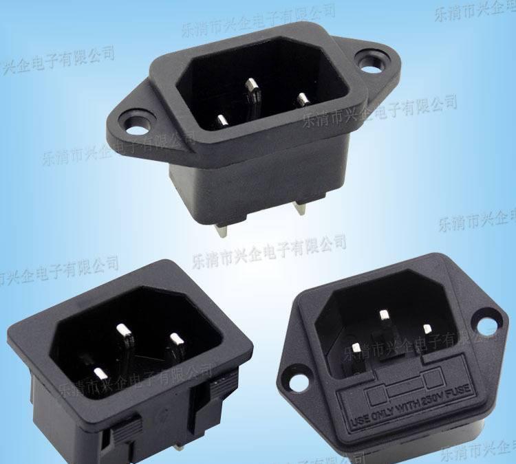 厂家供应AC电源插座SS-3B 品字工业插座 UPS三极插座卡式电源插座