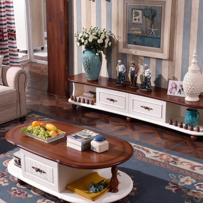 地中海电视柜茶几组合 田园欧式实木地柜 美式乡村茶几电视柜组合