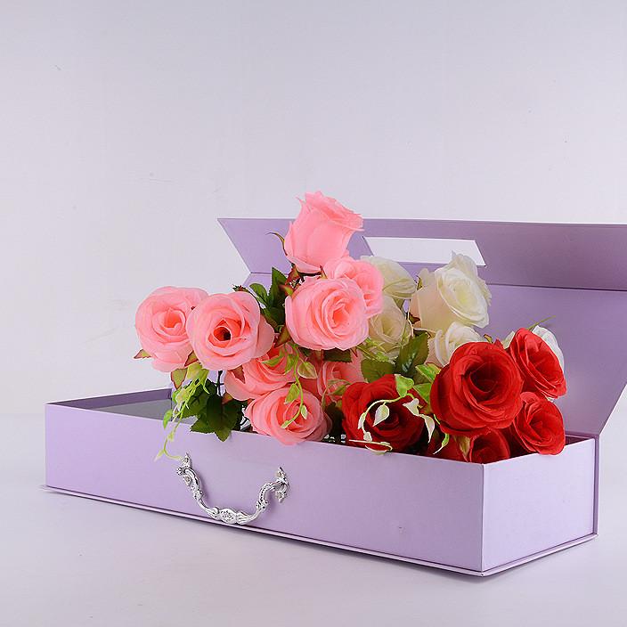 定制款长方形手提鲜花包装礼盒香皂玫瑰花花束包装盒手提鲜花盒