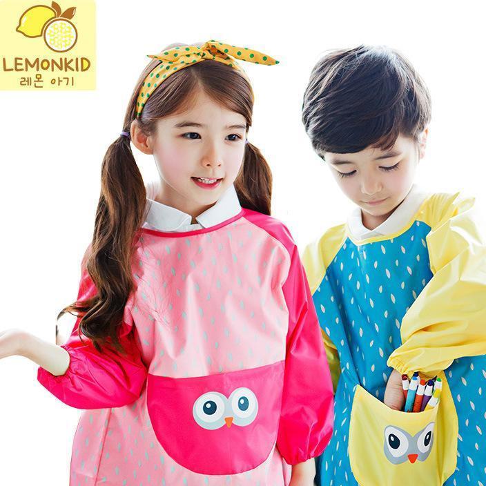 小眼睛环保儿童反穿衣男童女童围裙画画衣小孩宝宝防水卡通罩衣