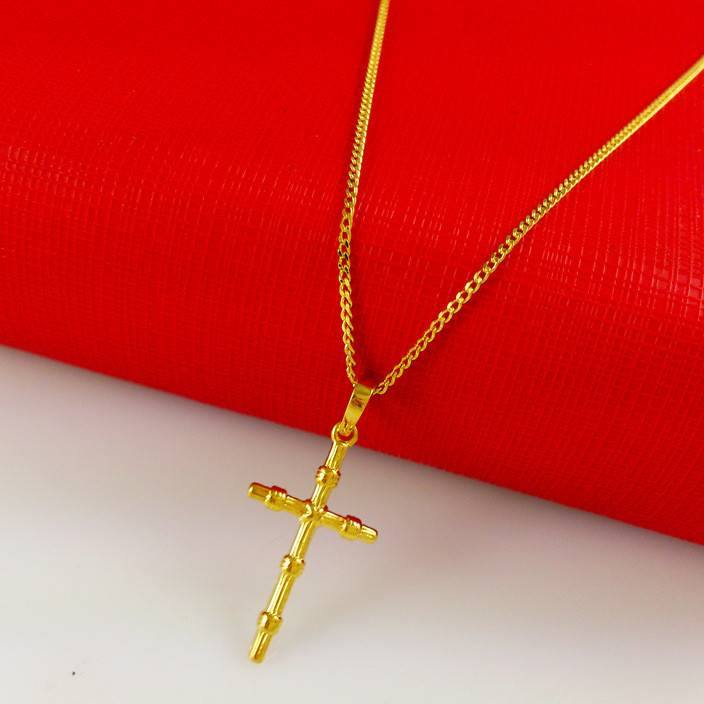 A046 小巧十字架吊坠 镀金首饰品基督教 黄铜镀24k黄金项链女款