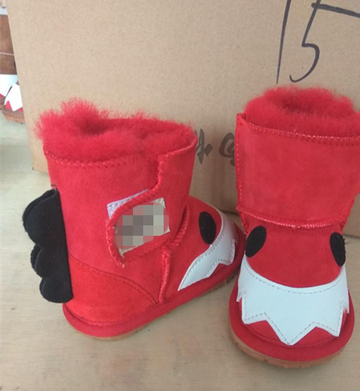 秋冬季羊皮毛一体宝宝鞋 男女婴儿鞋防滑学步鞋保暖儿童鞋小怪兽