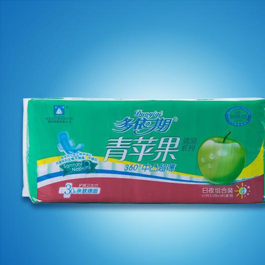 卫生巾加工多依期青苹果DA230轻柔棉面丝薄30片装OEM