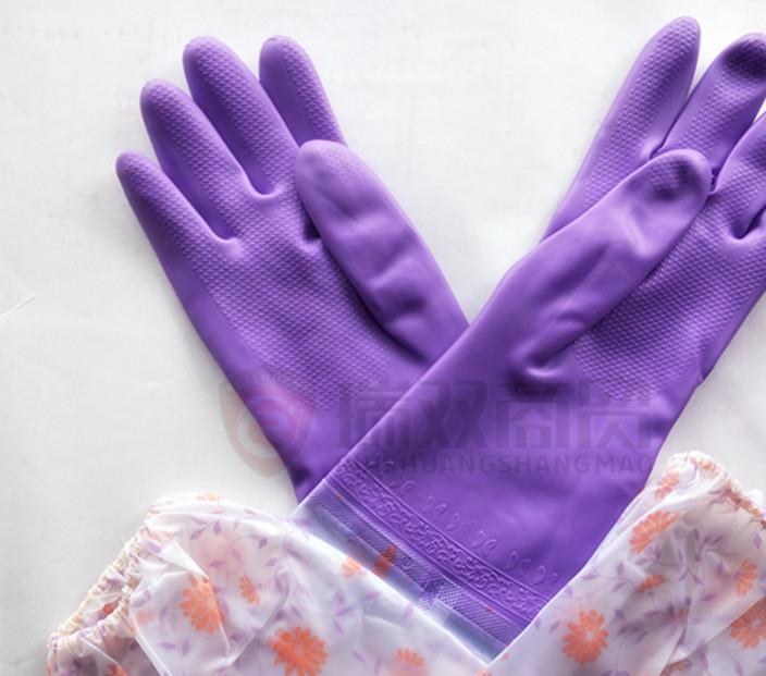 冬季保暖东亚博尔格108-4 108-5塑胶手套家用透明印花接袖手套