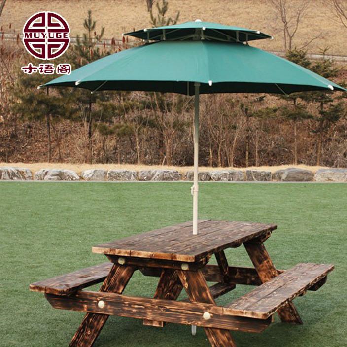 户外桌椅厂家批发户外连体防腐木桌椅 定制休闲实木庭院桌椅