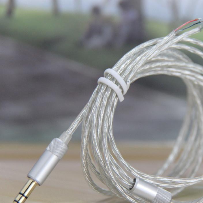 DIY耳机线  耳机线批发 高档仿镀银线  透明MP3耳机线