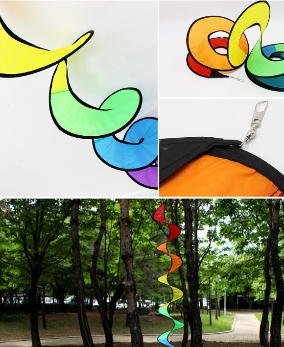 出口韩国户外帐篷野营彩虹园林装饰旋转彩带七彩风条批发