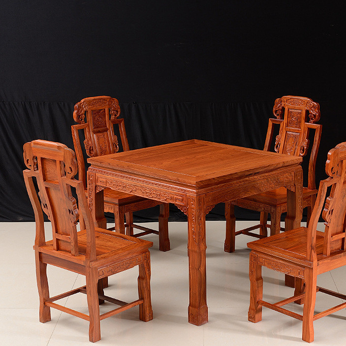红木家具非洲花梨四方桌八仙桌全实木餐桌椅组合如意八仙桌