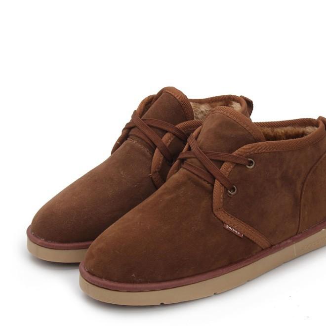 英伦中性棉布女靴平底系带加绒短靴男雪地靴磨砂平跟短筒靴女冬季