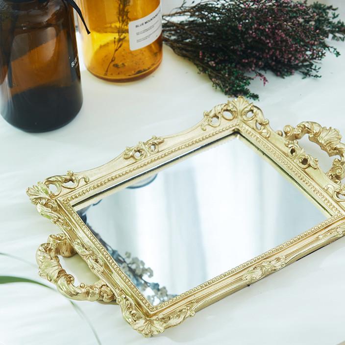 欧式婚庆道具蛋糕盘摆件树脂镜面托盘化妆品首饰盒金色托盘果盘