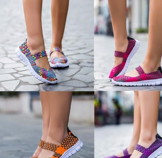 ebay速卖通爆款wish松紧带手工编织鞋女单鞋大码平底妈妈鞋厂家直