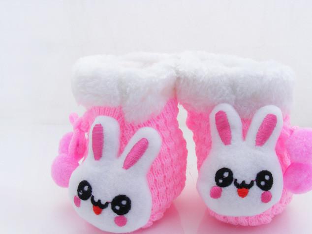 秋冬季新款菠萝纹毛线婴儿鞋 卡通针织动物头宝宝鞋  地板袜D0030