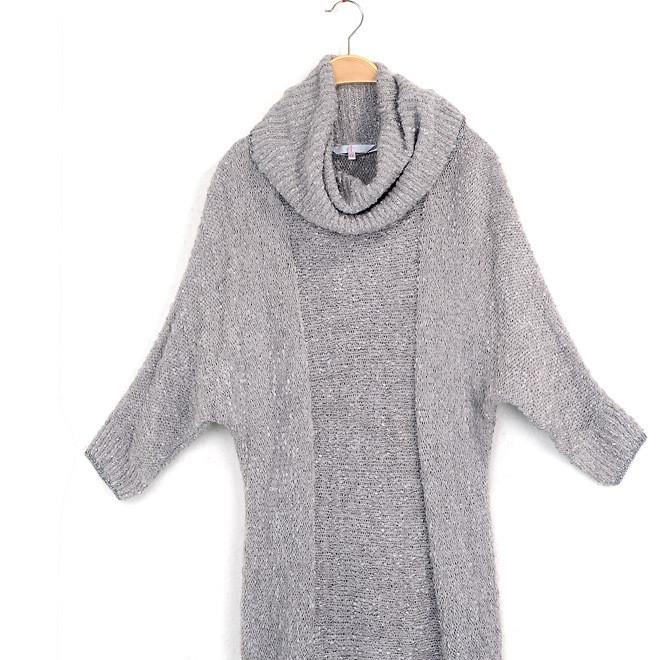 2019秋季新款厚款女装堆堆领中袖长款女装 修身显瘦包臀针织裙