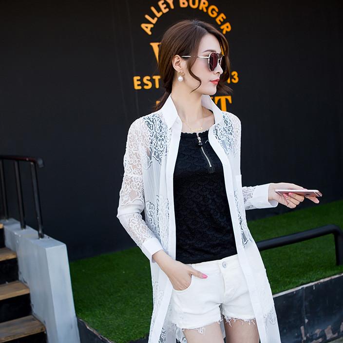 实拍2019蕾丝衬衫雪纺衫女士防晒衣中长薄款透明透气开衫衬衣
