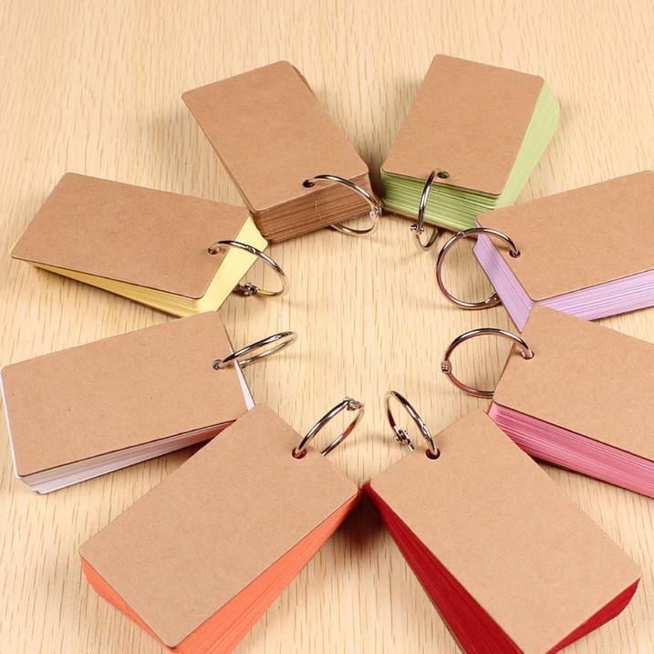 大号DIY空白彩色铁环单词卡拼音卡片 英语单词本记事本便签本活页