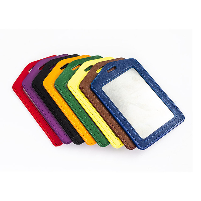厂家定制高档套 PU仿皮工作厂牌胸卡门禁工作牌硬胶卡套