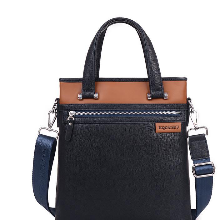 KUQIDAISHU business men's bag han version of a shoulder bag litchi tattoo cross body leather laptop bag