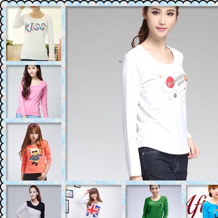 2019秋装上新新款女装 韩版印花女式T恤 长袖t恤 女装地摊货源
