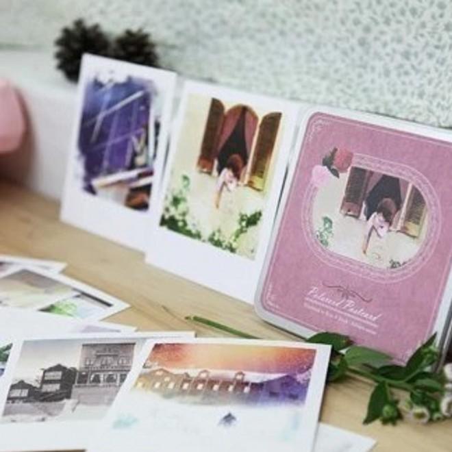 韩国文具批发 方形铁盒明信片个人画展 童话故事卡片 15张入