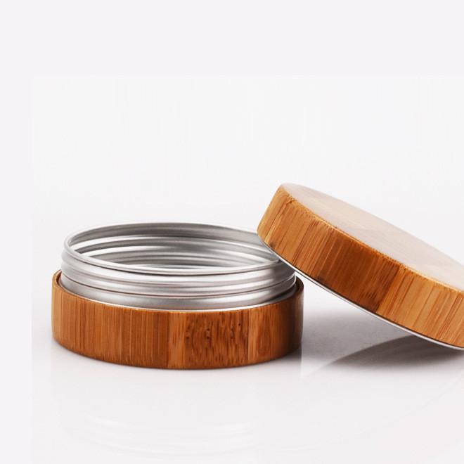 铝制膏霜盒面霜盒竹外壳铝盒圆形螺纹50g膏霜瓶化妆品包装分装