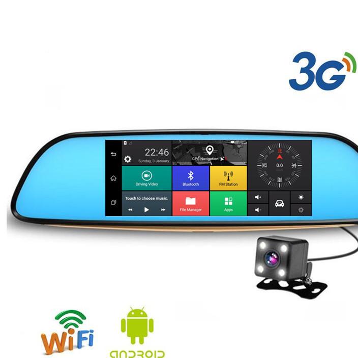 深圳厂家!7寸通用IPS屏带安卓 GPS 导航 多功能后视镜行车记录仪