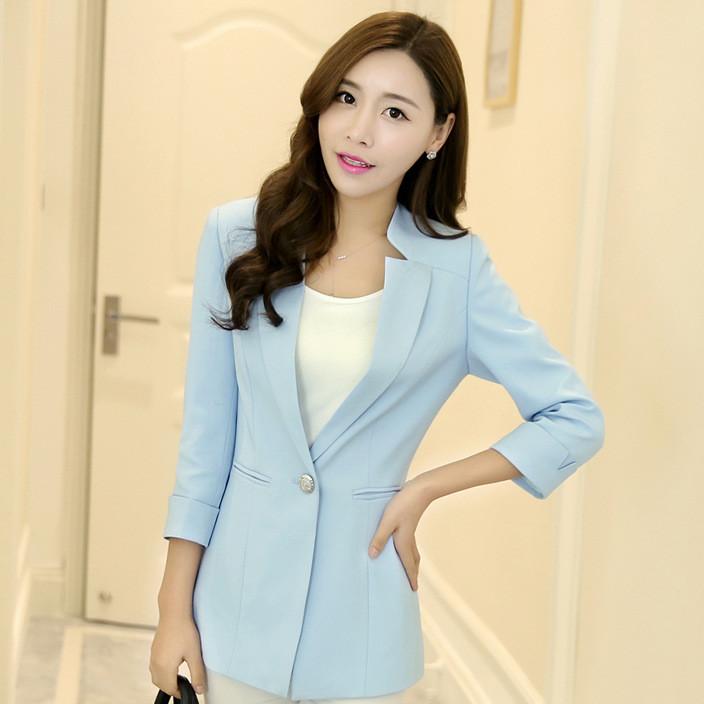 女士西服春秋新款时尚气质小西装修身显瘦短款外套一粒扣J1607