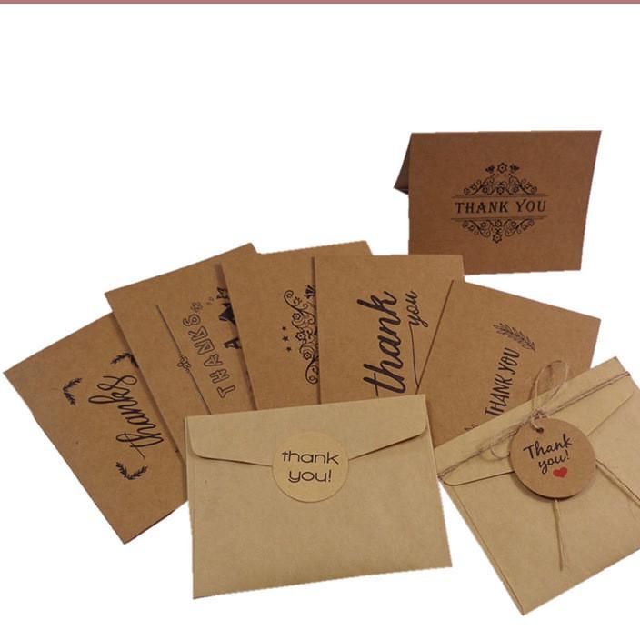 6套价 复古牛皮纸Thank you感谢贺卡祝福卡信封贴纸生日卡片套装