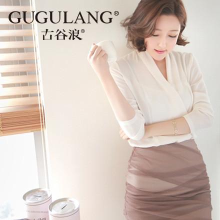 厂家直供古谷浪新品韩版雪纺衫职业套装裙女士长袖时尚修身两件套