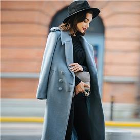 2019秋冬新款女士毛呢大衣系带时尚大码显瘦中长款羊绒呢子外套