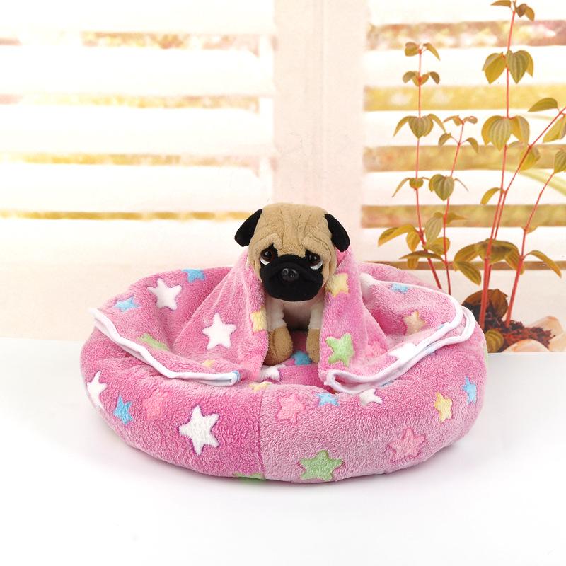 宠物窝 创意新款小型狗狗猫咪宠物垫子 圆形可爱保暖羊羔绒宠物窝