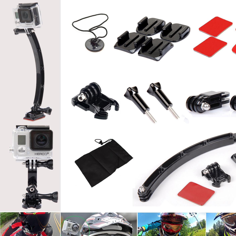 Gopro4 3+配件 摩托骑行头盔组合套装  兼容SJ4000小蚁相机