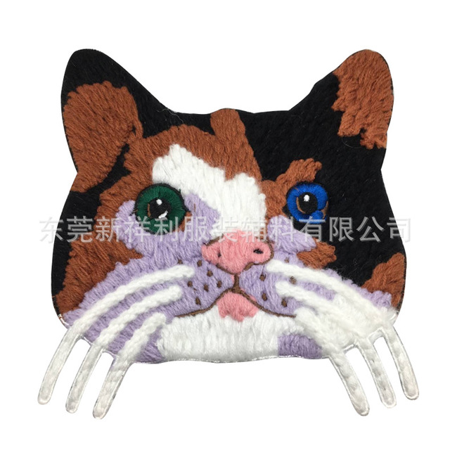 The new cat head wool embroidery computer special embroidery simulation three-dimensional cartoon wool embroidery clothing accessories customization