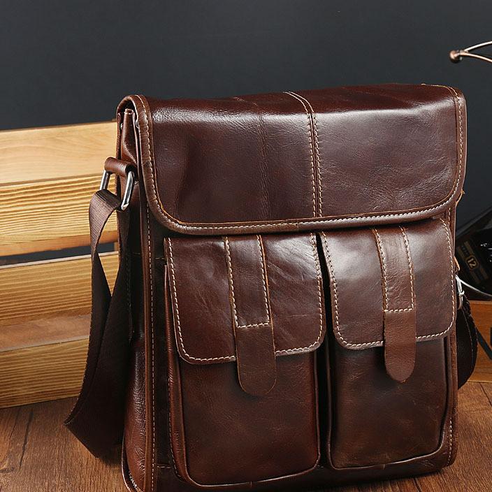 男士单肩包竖款公文包盖式真皮男包商务休闲包头层牛皮包一件代发