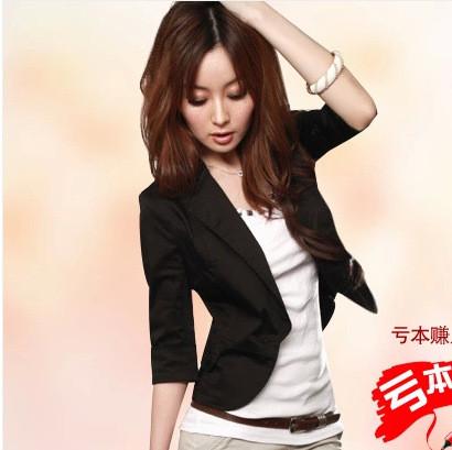 春秋款女士西服 女装日韩时尚版百搭小西装修身短袖外套