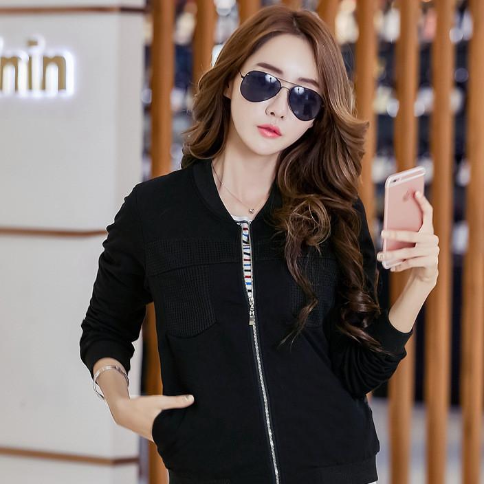 女装代理韩国东大门新款拼接蕾丝侧口袋短外套女士夹克棒球服