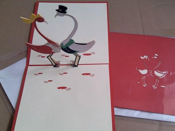 厂家直销贺卡 3D立体贺卡爱情鸟韩国创意纯手工制作DIY镂空明信片