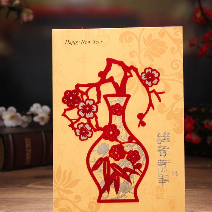 新年贺卡创意中国风商务植绒剪纸画鸡年春节祝福卡元旦贺卡