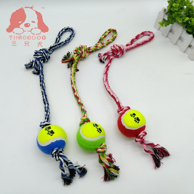 Three dogs pet toy custom pet cotton string toy ball portable tennis cotton string bite string grinding toy