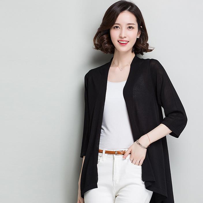 春季新款针织衫开衫时尚女士外套钩花镂空毛衣中长款长袖韩版女装