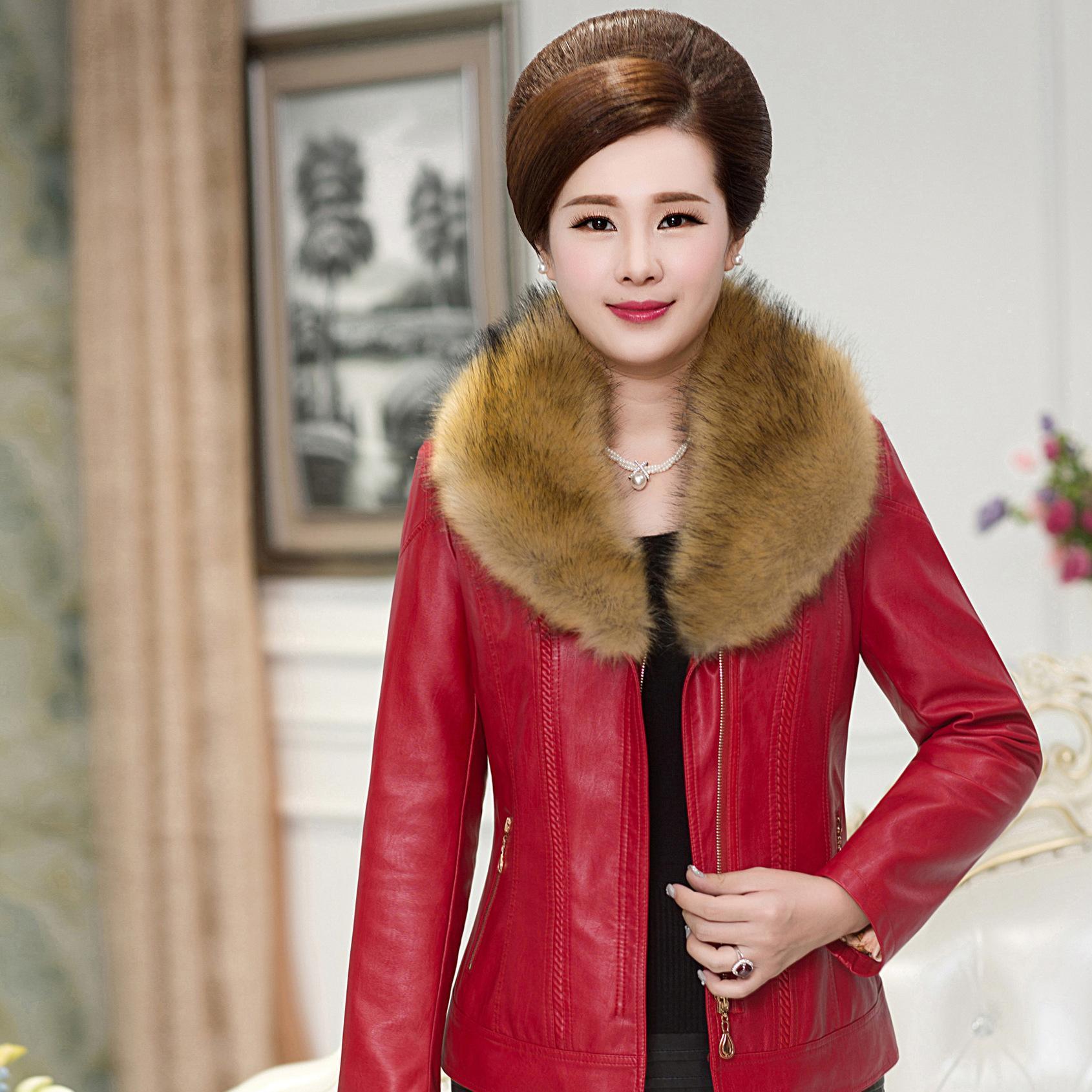 中老年女装大毛领短款PU皮衣外套中年妈妈装冬季大码女士夹克上衣