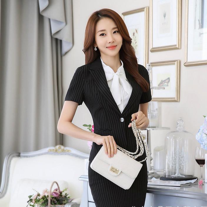 2019经典黑条纹时尚女士西服套裙 OL上班族工作服酒店前台制服